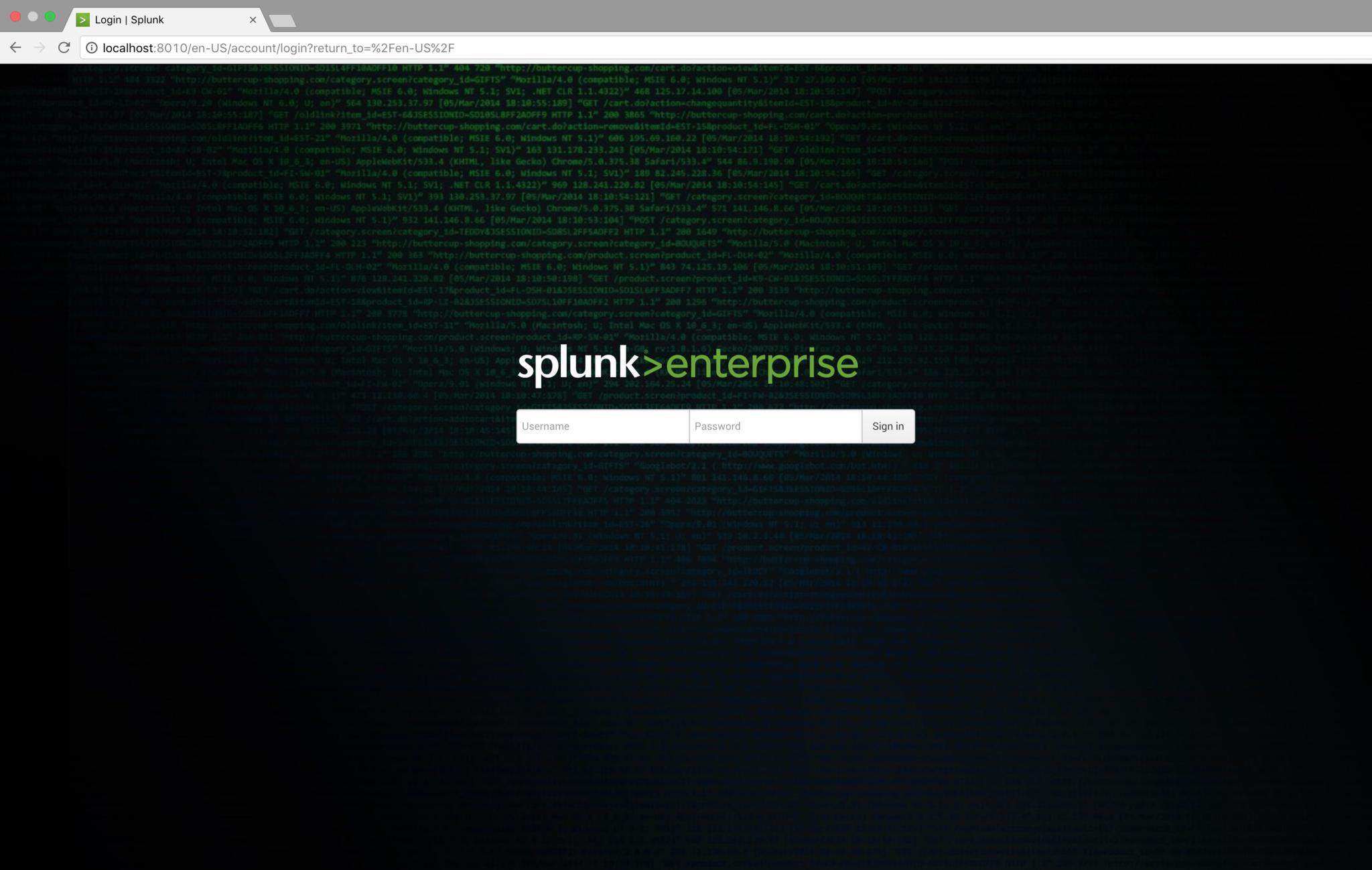 Default login page
