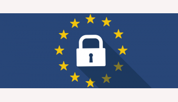 European Union long shadow flag with a lock pad
